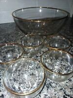 Vintage Jeannette 1950's  Punch Bowl Glass W/ Gold Trim Set / OOAK FLOWER