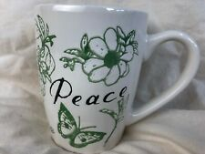 "Pfaltzgraff Everyday ""PEACE"" 16oz Coffee Tea Mug with Green Embossed Flowers"