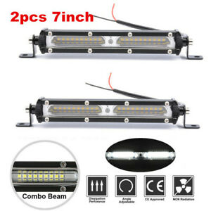 2pcs 7inch 90W LED Light Bar Work Spot Flood Combo Beam 4WD Car ATV UTV Truck