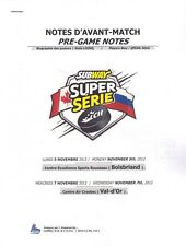 Quebec QMJHL Canada - Russia Junior Subway Series 05.11.2012 Pre-Game Notes