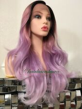 pastel rainbow wig Lace Front Wavy Layered Heat Resistant Ok 24 Inch Long