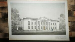 Old Pencil Drawing Administrative Building Signed Original 1954 Wall Picture Art