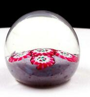 "MURANO ART GLASS PINK RED GREEN MILLEFIORI FLORAL ROUND SMALL 1 7/8"" PAPERWEIGHT"