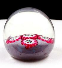 """MURANO ART GLASS PINK RED GREEN MILLEFIORI FLORAL ROUND SMALL 1 7/8"""" PAPERWEIGHT"""