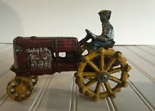 Cast Iron Tractor Red and Yellow