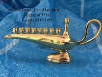 Hanukkah Menorah Jewish Judaica Israel Vintage Brass Chanukah Candle Holder