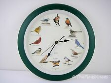 """Large 14"""" Bird Sounds Clock with Auto Off At Night Option"""