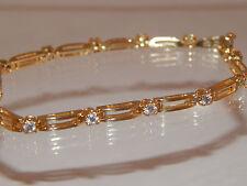 1.04 tcw Designer LARGE Round Diamond Tennis Bracelet F/SI 14k Gold Estate