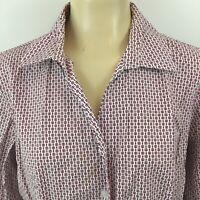 Christopher & Banks Button Long Sleeve Shirt Geometric Cotton Womens Tops Size L
