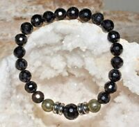 Pyrite Black Tourmaline Bracelet Natural Gemstone Quartz Crystal Healing Unisex