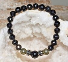 Pyrite Black Tourmaline Bracelet Natural Gemstone Quartz Crystal Healing Unisex