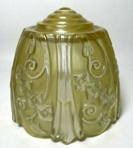 Antique Lincoln Slip Shade Amber and Clear Glass Color