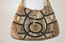 "GUCCI ""NEW JACKIE"" PYTHON SNAKESKIN LEATHER LARGE HOBO SHOULDER BAG HANDBAG MINT"