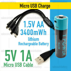Micro USB rechargeable 1.5V Li-ion AA size LITHIUM Battery 3400mWh Mel stock