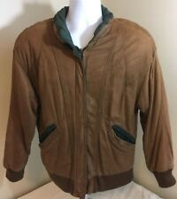 Winlet Leather Bomber Style Jacket Womens Medium Brown with Green Trim Free Ship