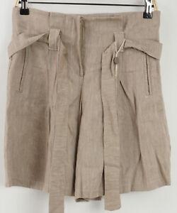 New Sina Ja Women's Sizes M / L Brown Linen Blend Canvas Belted Bermuda Shorts