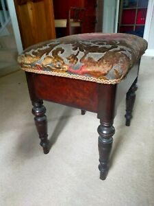 Vintage mahogany upholstered lidded piano stool
