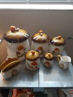 Vintage 7 piece Sears, Roebuck and Co. Merry Mushroom Canister Set, 1978