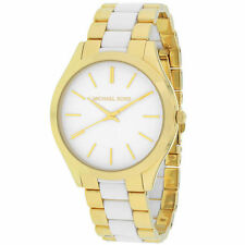 Michael Kors Runway Gold Plated Band Round Wristwatches