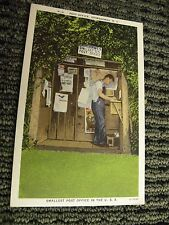 Vintage linen postcard smallest Post Office in U.S.A.Grimshawes NC