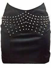 NWT AUTH One Teaspoon Blk Gypsy Leather Studs Skirt AU8/US 4