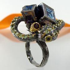 B015 Unikat Ring Schlange Wismut Peridot 925 Silber 585 Gold Black Rhodium Gr.55