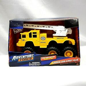 ADVENTURE FORCE 6x6 YELLOW FIRE TRUCK LARGE DIECAST FRICTION MOTOR PUSH & GO