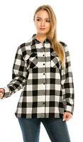 YAGO Women's Plaid Flannel Button Down Casual Shirt Black/White A1 (S-2XL)