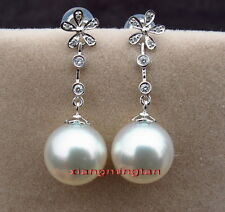 Top Quality 14K GOLD diamond 11-12MM SOUTH SEA white PEARL Dangle EARRINGS