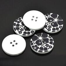 10 Botones Madera Diseño De Flores Negro 30 mm 3 CM MANUALIDADES DE COSTURA