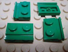 LEGO Set of 4 NEW 1x2 Modified Plates w/Door Rail (Technic motor holders) GREEN