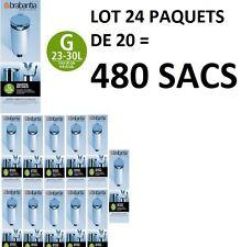 """LOT 24 PAQUETS SAC POUBELLE 246265 BRABANTIA """" G """" 30 LITRES = 480 SACS"""