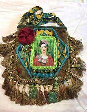 handmade Frida Kahlo gypsy purse boho bag tapestry carpet Mexican folk art