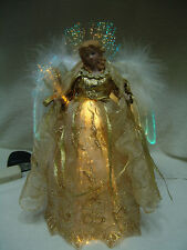 """VNTG LARGE FIBER OPTIC ANGEL 12""""T GOLD W/GOLD TRIM GOWN WHITE FEATHER WINGS"""