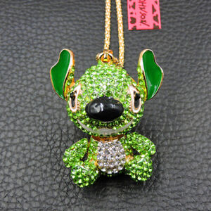 Hot Green Crystal Cute Cartoon Stitch Betsey Johnson Pendant Chain Necklace