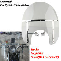 Large Smoke Windshield Windscreen Motorcycle Handlebar For Yamaha Harley Cruiser