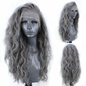 24inch Synthetic hair Lace front wigs Gray Long Wavy Curly Full Head