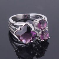 Purple Amethyst Three-Stone 18K White Gold Filled Women's Ring Size M/O/Q