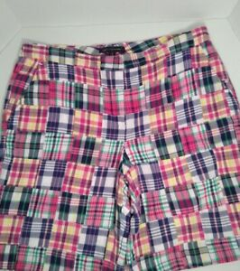 Brooks Brothers 346 women's Classic Madras Plaid patchwork shorts navy 14