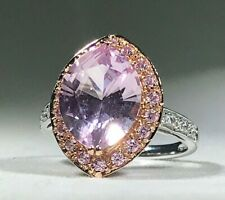 14K Rose Gold/White Gold Kunzite, Pink Sapphire, White Topaz Halo Ring - Size 6