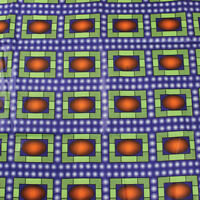 Fabric African Kente Wax Black Green Red Rasta on Yellow Cotton by the 1/4 yard