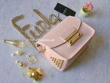 Furla Magnolia Pink Saffiano Julia Mini Studded Leather Crossbody Clutch Bag NEW