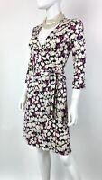 Diane von Furstenberg New 6 US 42 IT M Floral Julian Silk Wrap Dress Runway Auth