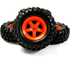 A960024 1/10 Scale Off Road Rock Crawler Wheel and Tyres 4 Red Plastic 5 Spoke