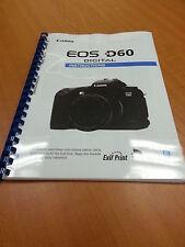 Canon Eos D60 completo manual de instrucciones impreso Guía de usuario 148 páginas A5