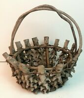 Vintage primitive round wooden woven gathering basket twined twig handle