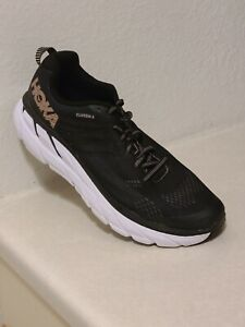 Hoka One One Clifton 6 Black/Rose Gold Running Athletic Shoes Womens Size 11