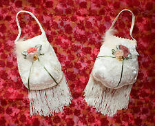 "VICTORIA'S GARDEN *NEW* SET OF 2 IVORY PURSE WALL-HANGINGS 13"" LONG EACH"