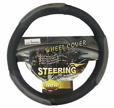 UNIVERSAL Black Grey Steering Wheel Cover Stylish Soft LEATHER Suede PU NEW 38cm