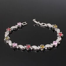 "FIT 18k white gold filled colorful sapphire wedding charms bracelet 7""13.5g"